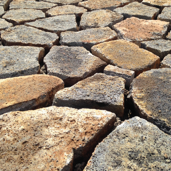Rough stone paving