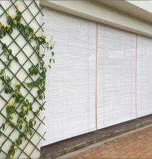 White blinds in raffia